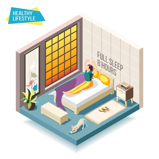Healthy lifestyle isometric composition with woman waking up after eight hours of sleep illustration Free Vector