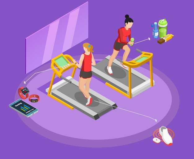 Healthy lifestyle isometric template Free Vector