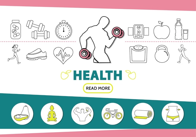 Healthy lifestyle line icons set with strong man vitamins sport equipment scale mobile fruits yoga Free Vector