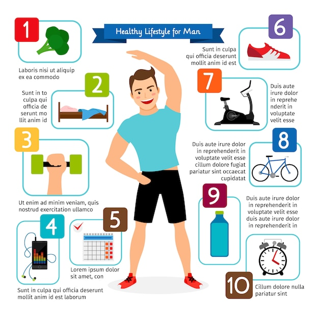 Healthy lifestyle for man vector infographics Premium Vector