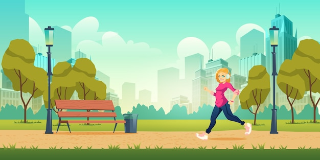Healthy lifestyle, outdoor physical activity and fitness in modern metropolis Free Vector