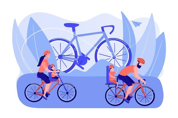 건강한 라이프 스타일, 부모와 자녀가 함께 스포츠를하고 있습니다. 사이클링 경험, 가족 자전거 산책, 최고의 자전거 트레일, 현대적인 사이클링 기어 컨셉. 분홍빛이 도는 산호 bluevector 고립 된 그림 무료 벡터