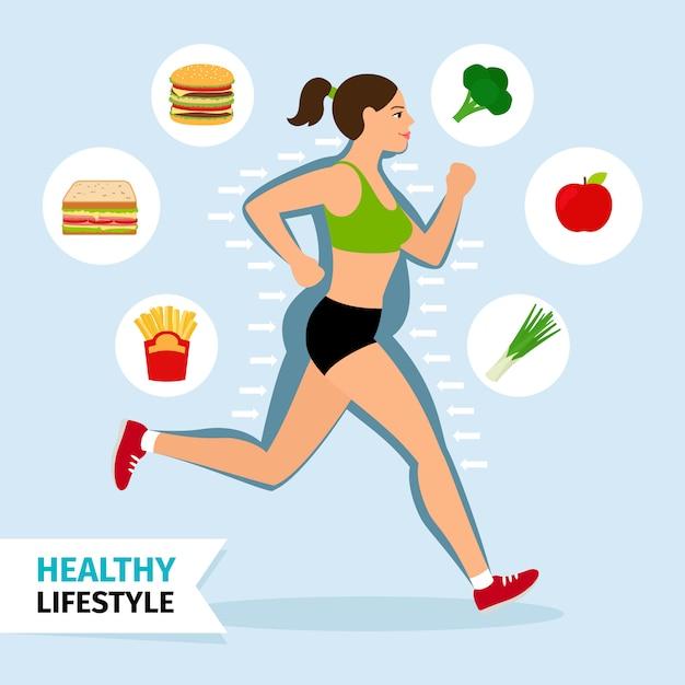 Healthy lifestyle running woman vector illustration. Premium Vector