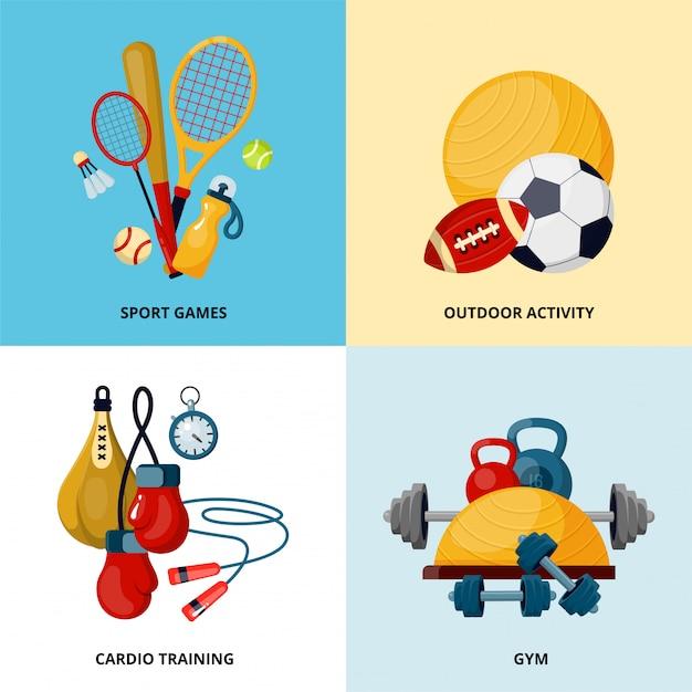 Healthy lifestyle social media banners vector template Premium Vector