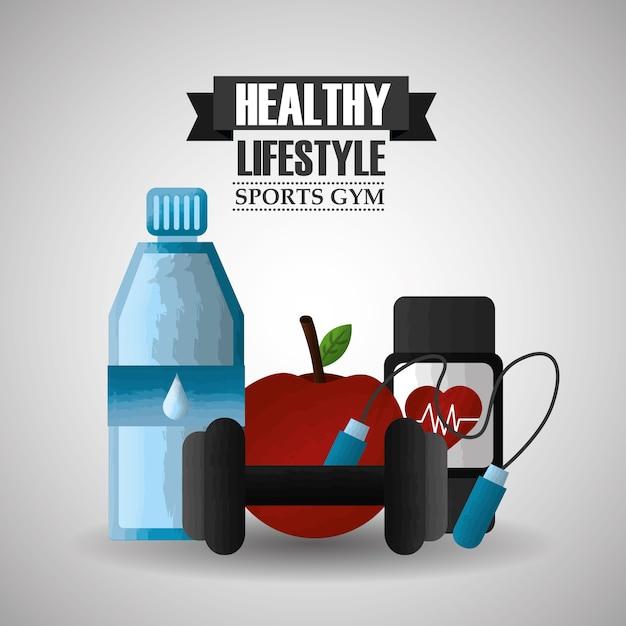 Healthy lifestyle sport gym apple watch barbell bottle water Premium Vector