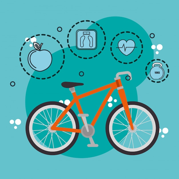 Healthy lifestyle and sports icons Free Vector