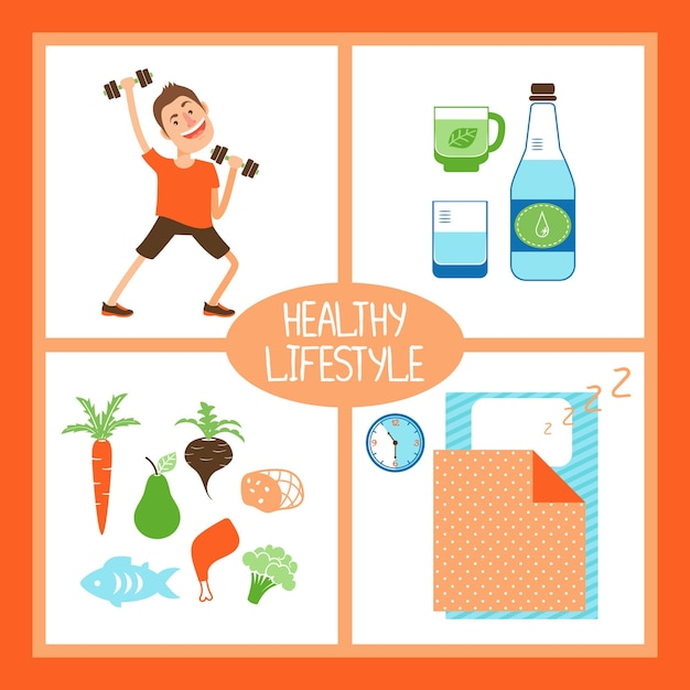 Healthy lifestyle vector illustration with a man lifting weights for fitness  pure water or organic beverages  healthy diet and food and sufficient sleep Free Vector