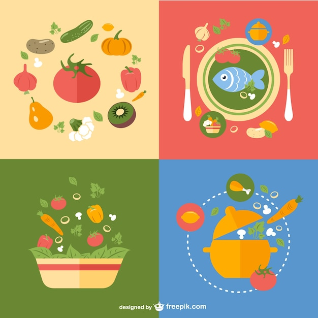 Healthy meals cards Free Vector