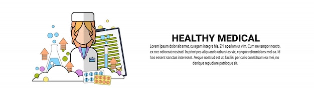 Healthy medical treatment concept horizontal banner template Premium Vector