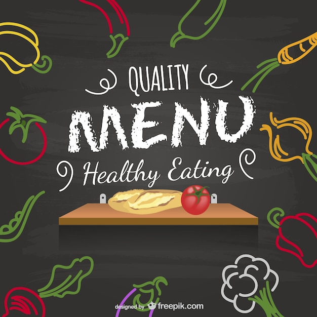Healthy Menu Blackboard Vector | Free Download