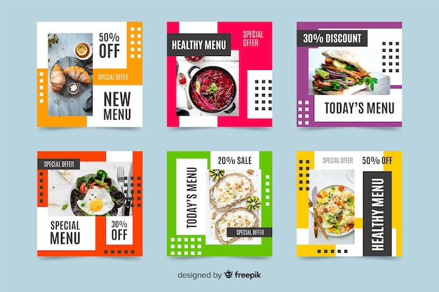Healthy menu instagram post collection with photo Free Vector