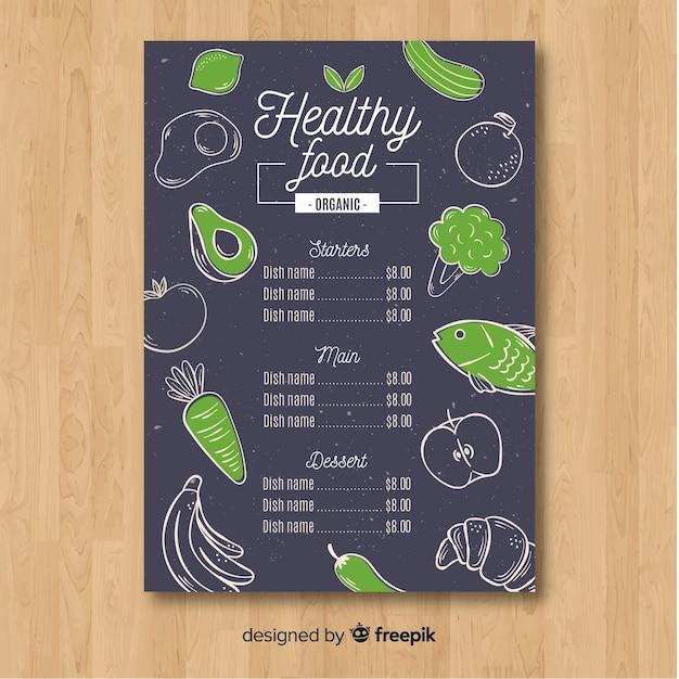 Healthy menu template Free Vector