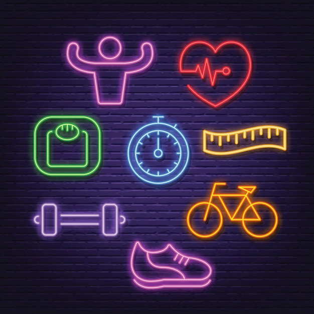 Healthy neon icons Premium Vector