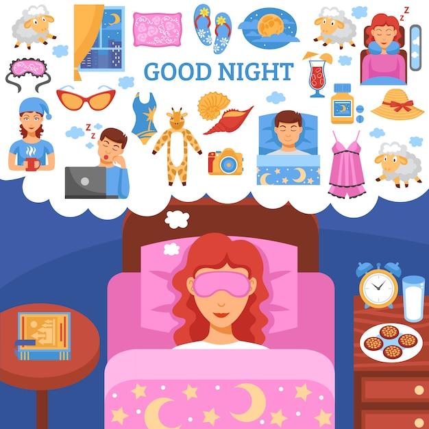 Healthy night sleep tips flat background Premium Vector