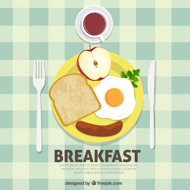 Healthy and nutritious breakfast background Free Vector