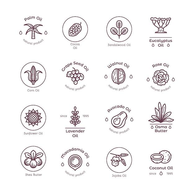 Здоровая органическая цветочная косметика, масло линейные надписи и логотипы Premium векторы