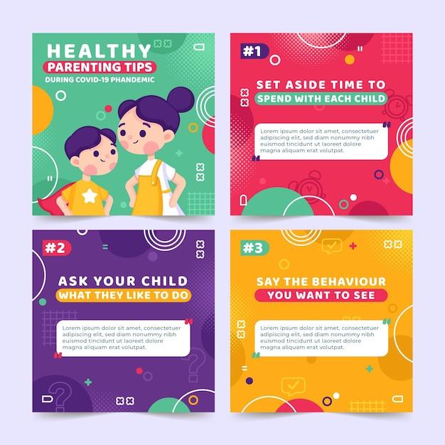 Instagramのための健康な育児のヒント 無料ベクター