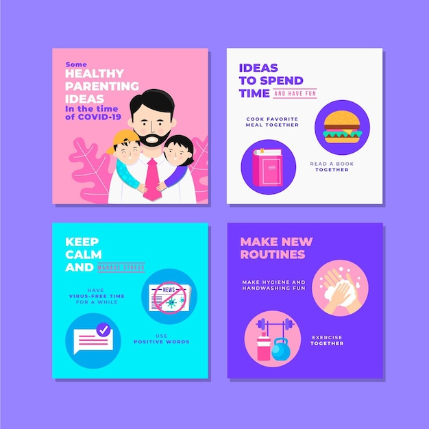 Healthy parenting tips for instagram Free Vector