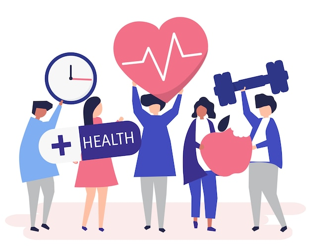 Healthy people carrying different icons Free Vector