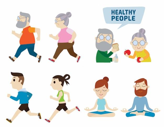 Healthy people flat cute cartoon design illustration. isolated Premium Vector