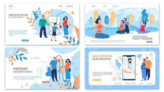 Healthy pregnancy practices webpage set Premium Vector