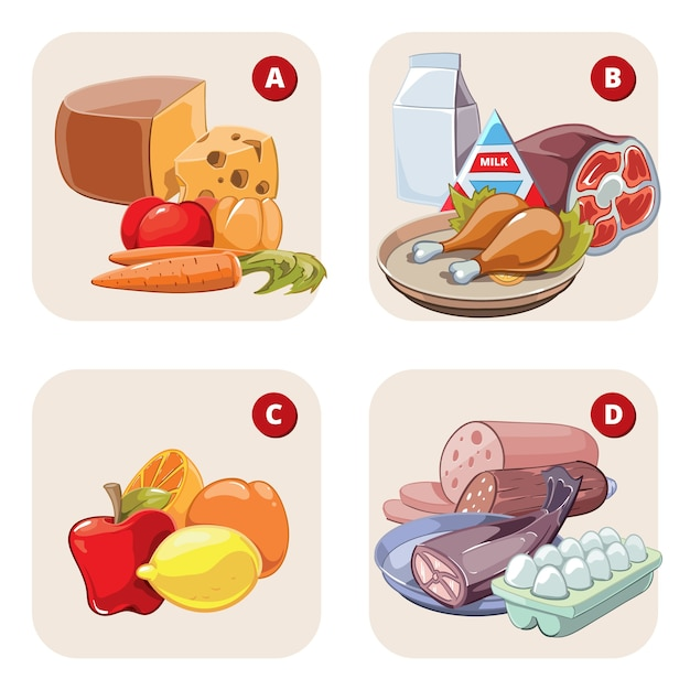 Healthy products containing vitamins. food healthy, tomato aand lemon, apple and ham, vitamin d b a c. Free Vector