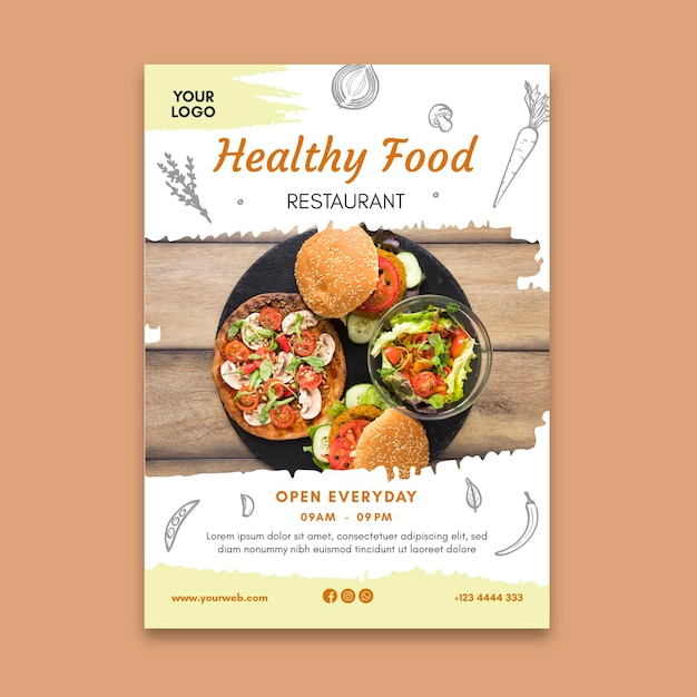 Healthy restaurant flyer Premium Vector
