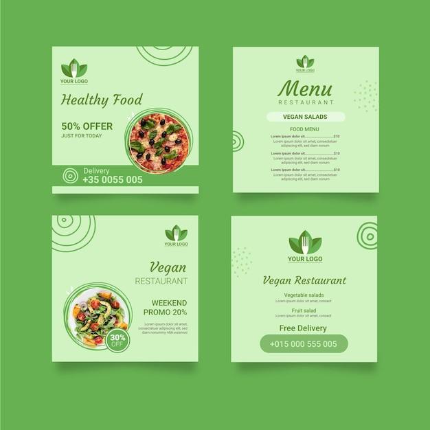 Post instagram ristorante sano Vettore gratuito