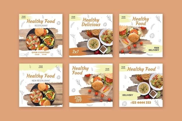 Healthy restaurant instagram post Free Vector