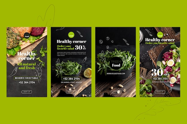 Healthy restaurant instagram stories template Free Vector