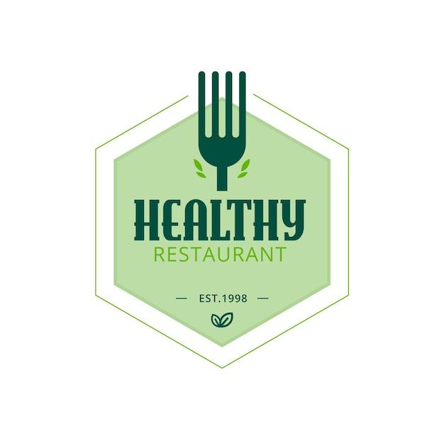 ヘルシーレストランのロゴのテンプレート 無料ベクター