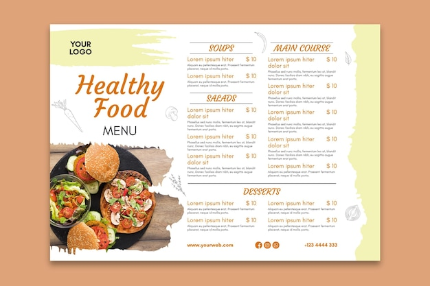 Healthy restaurant menu template Free Vector