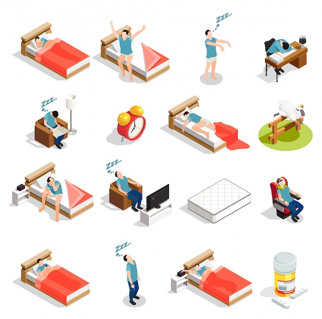 Healthy sleep and disorders characters Free Vector