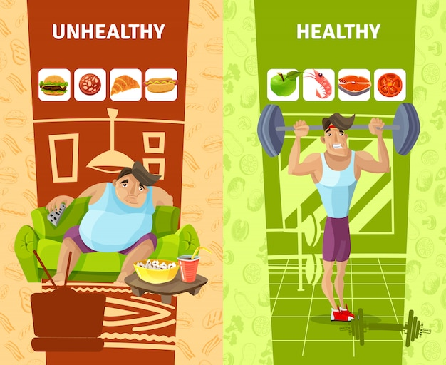 Healthy and unhealthy man banners set Free Vector