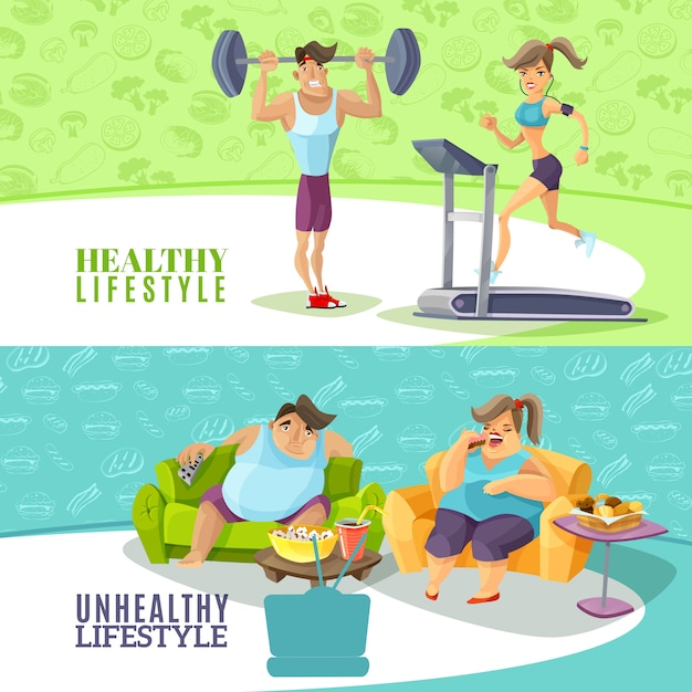 Healthy and unhealthy people horizontal banners set Free Vector