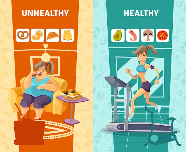 Healthy and unhealthy woman banners set Free Vector
