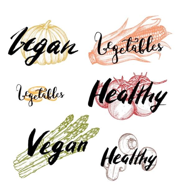 Healthy vegan food hand drawn labels set Premium Vector