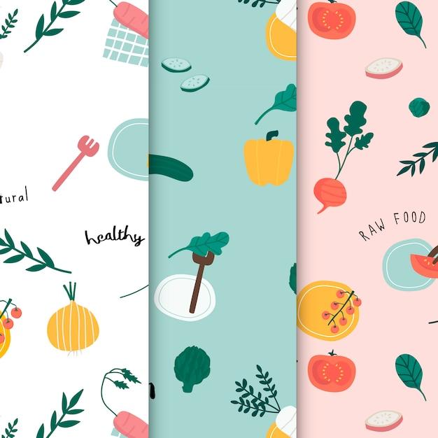 Healthy vegan food wallpaper vectors Free Vector