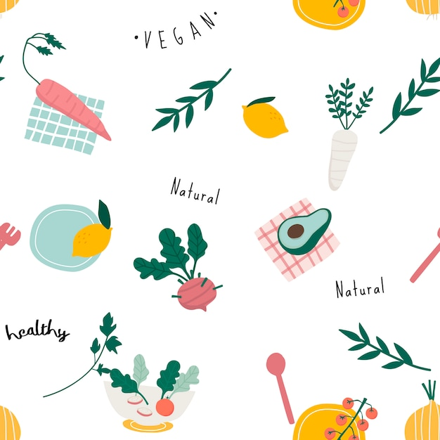 Healthy vegan seamless wallpaper vector Free Vector