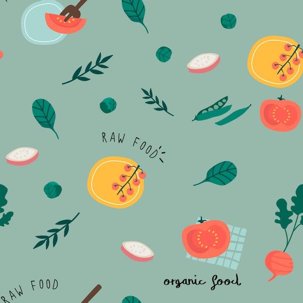Healthy vegan seamless wallpaper vector Free Vector