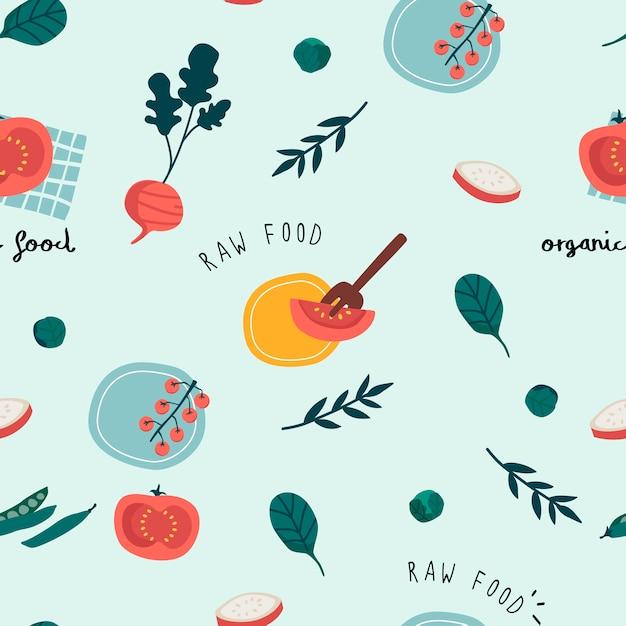 Healthy vegan seamless wallpaper Free Vector