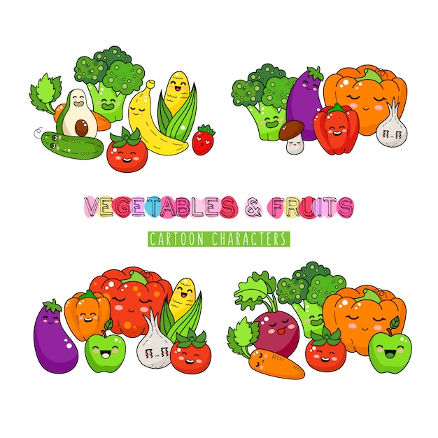 Healthy vegetable and fruits doodle. happy food sticker, big collection. Premium Vector