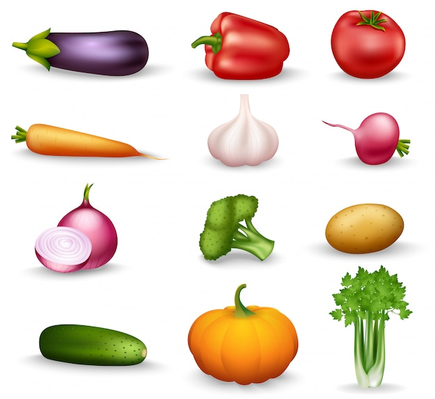 Healthy vegetables illustration Free Vector