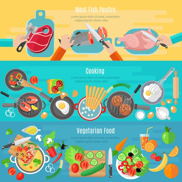 Healthy vegetarian diet dishes and meat fish poultry home cooking flat banners set Free Vector