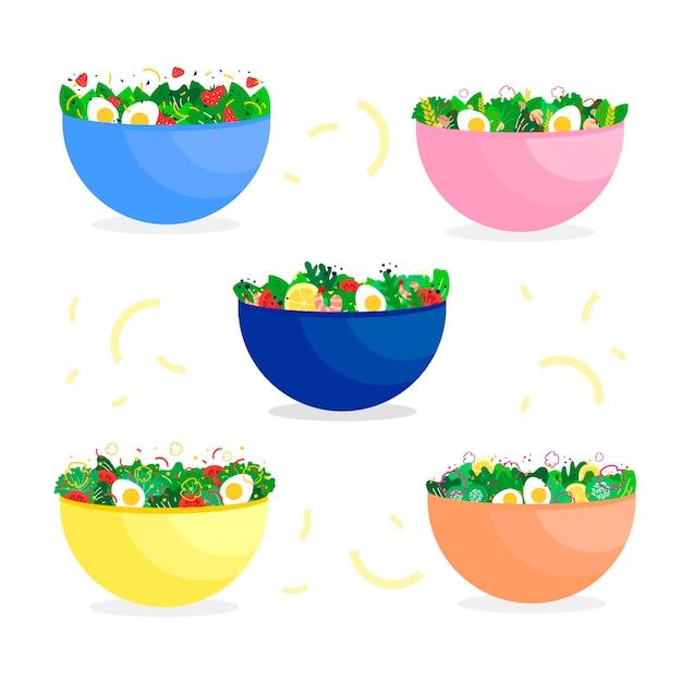 Здоровые овощи и яйца в мисках Бесплатные векторы