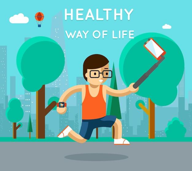 Здоровый образ жизни. спорт монопод селфи в парке. упражнения и бег, активный спортсмен Бесплатные векторы