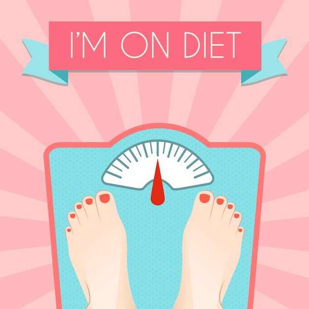 Healthy weight loss control with retro scale diet concept Free Vector