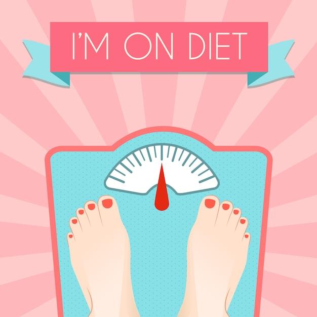 레트로 스케일 다이어트 개념으로 건강한 체중 감량 제어 무료 벡터