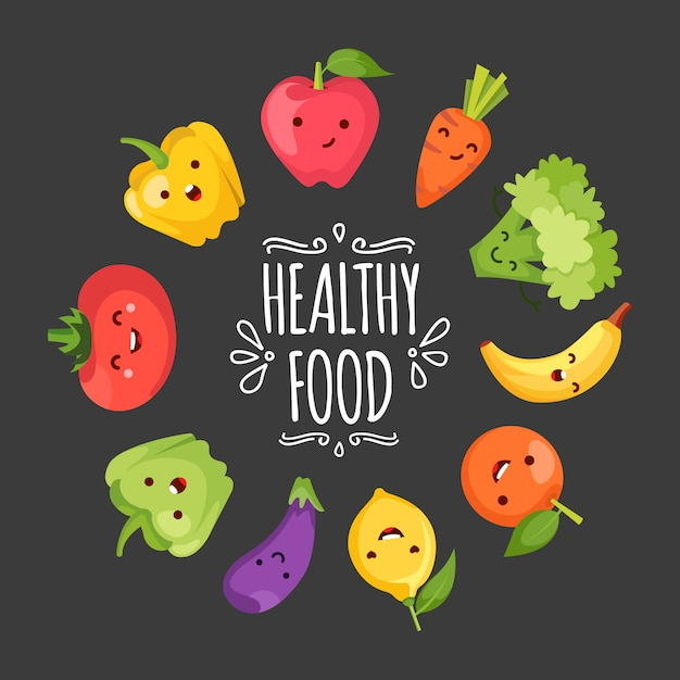 Healty food cartoon representing some funny vegetables Free Vector