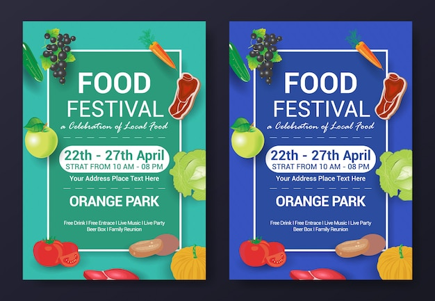 Healty food festival flyer template Premium Vector